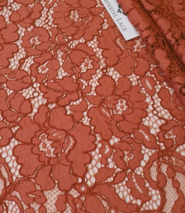 Redish brown guipure lace fabric