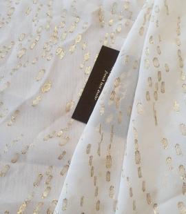 Ziloņkaula ar zelta deteļām zīda crepe šifona audums