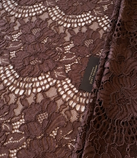 Brown floral guipure lace fabric