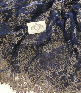 Tumši Zila Chantilly Mežģīne