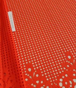 Orange red guipure lace fabric