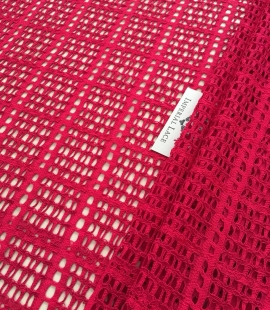 Raspberry red lace fabric