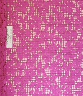 Fuchsia pink floral guipure lace fabric