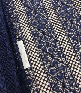Dark blue lace fabric