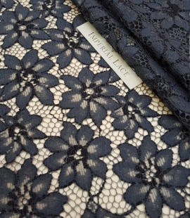 Blue with Gray Lace Fabric