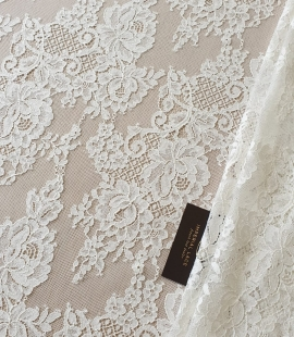 Ivory floral pattern cotton guipure lace fabric