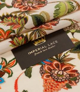 Daudzkrāsu ziedu printēts zīda krepa audums