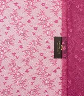 Aveņu rozā elastīgā bez malām chantilly mežģīņu audums