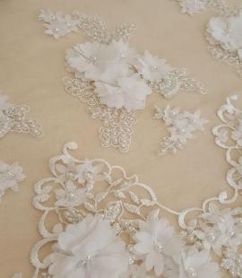Ziloņkaula 3D zieda rakstu mežģīņu audums