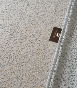Grey guipure lace fabric