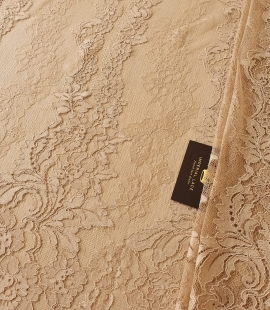 Light brown guipure with chantilly lace fabric