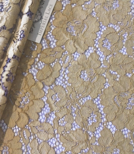 Olive with lilac net guipure lace fabric