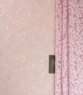 Gaiši rozā ziedu raksta guipure mežģīņu audums