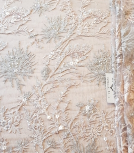 Peach with silver beaded lace fabric