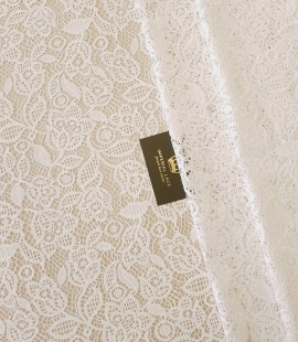 Snow white guipure floral pattern lace fabric