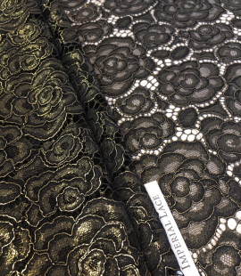 Black with gold lace fabric