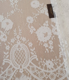 Ivory floral pattern guipure lace fabric