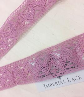 Veci rozā kokvilnas mežģīnes maliņa