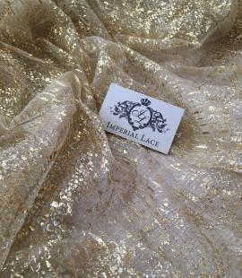 Miesas krāsas tilla audums ar zelta pārklājumu