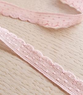 Gaiši rozā chantilly mežģīnes apdares lente