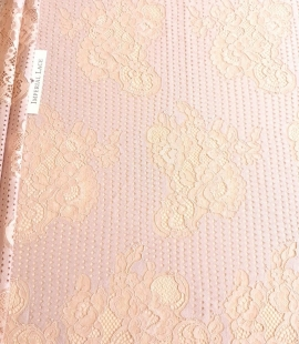 Powder color lace fabric