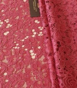 Rasberry pink 100% polyester floral guipure lace fabric