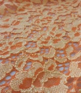 Oranžs ziedu raksta guipure mežģīņu audums
