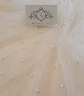 Offwhite tulle fabric with pearls
