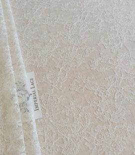 Ecru chantilly elastic lace fabric