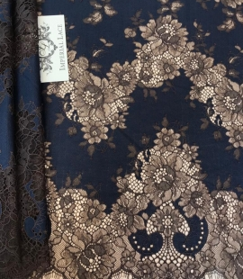 Dark blue with brown flower pattern lace fabric