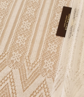 Ivory 100% polyester stripes and flowers guipure lace fabric