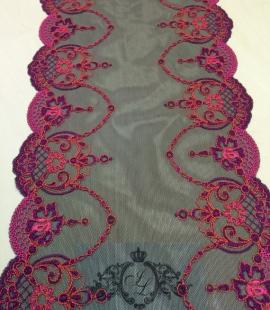 Melna ar rozā elastīga apakšveļas mežģīne