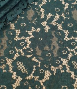 Dark green cotton guipure lace fabric