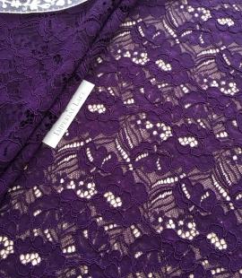 Violets ziedu raksta guipure mežģīņu audums