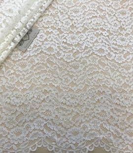 Ivory and offwhite lace fabric