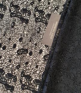 Black interesting design viscose guipure lace fabric