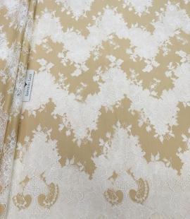 Dark beige lace fabric