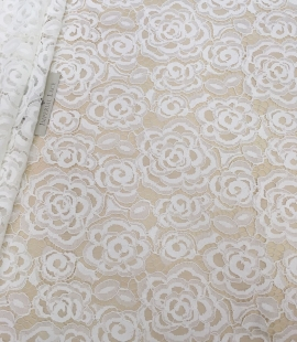 Ivory lace fabric with flowers