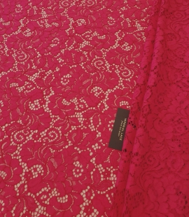 Raspberry pink 100% polyester floral pattern guipure lace fabric