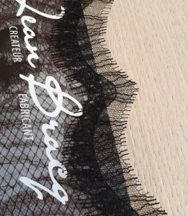 Black natural chantilly lace fabric by Jean Bracq