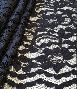 Black Lace fabric with flowers