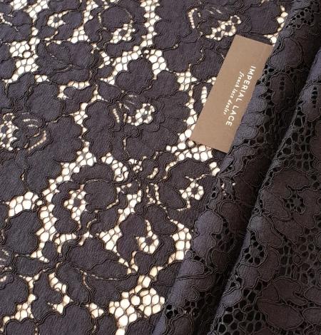 Black guipure lace fabric. Photo 1