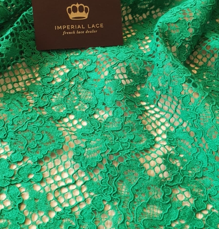 Green guipure lace fabric. Photo 5