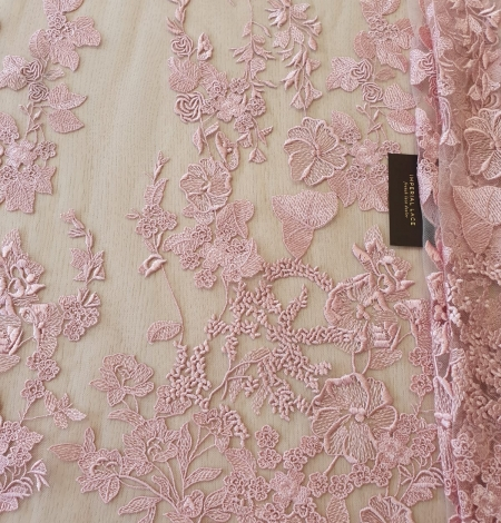 Veci rozā puķains raksts uz tilla auduma. Photo 8