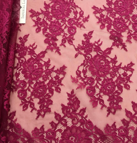 Raspberry red lace fabric. Photo 4