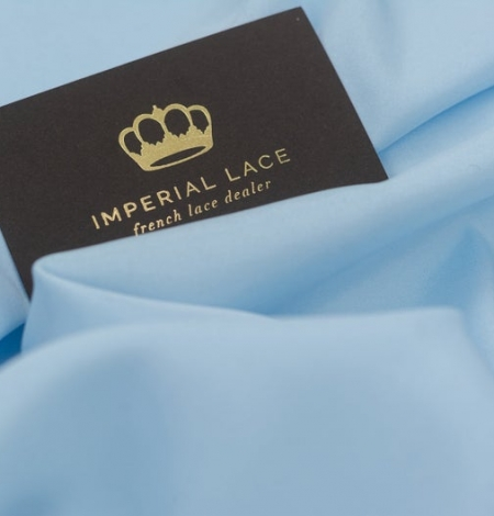 Zils zīds ar elastānu satīna audums. Photo 8