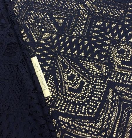Navy Blue Lace Fabric. Photo 1