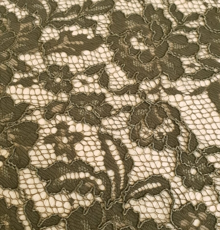 Dark haki green guipue lace fabric. Photo 5
