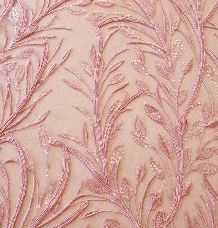 Aveņu rozā lapu rakstu izšuvumi ar fliteriem uz mīksta tilla auduma. Photo 4