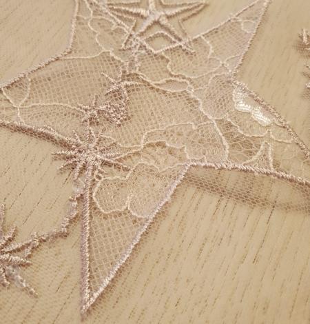 Veci rozā zvaigžņu raksts ar chantilly deteļām un fliteriem izšuvums uz tilla auduma. Photo 7